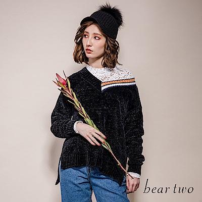 beartwo 浪漫仙氣蕾絲拼接小立領針織上衣(橘色)