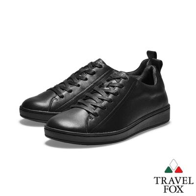 TRAVEL FOX(男) 新經典  全牛皮簡約都會運動休閒鞋 - 黑色