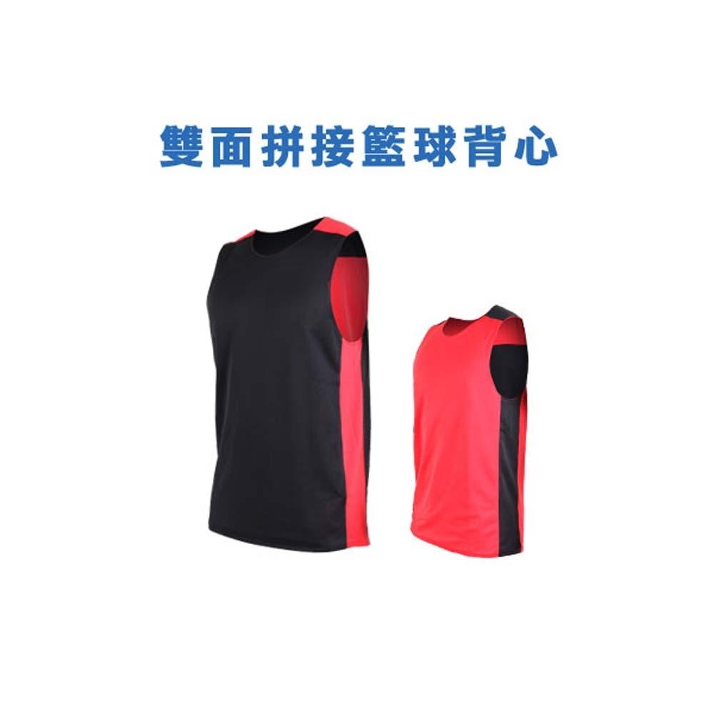 INSTAR 男女 雙面剪接籃球背心 黑紅