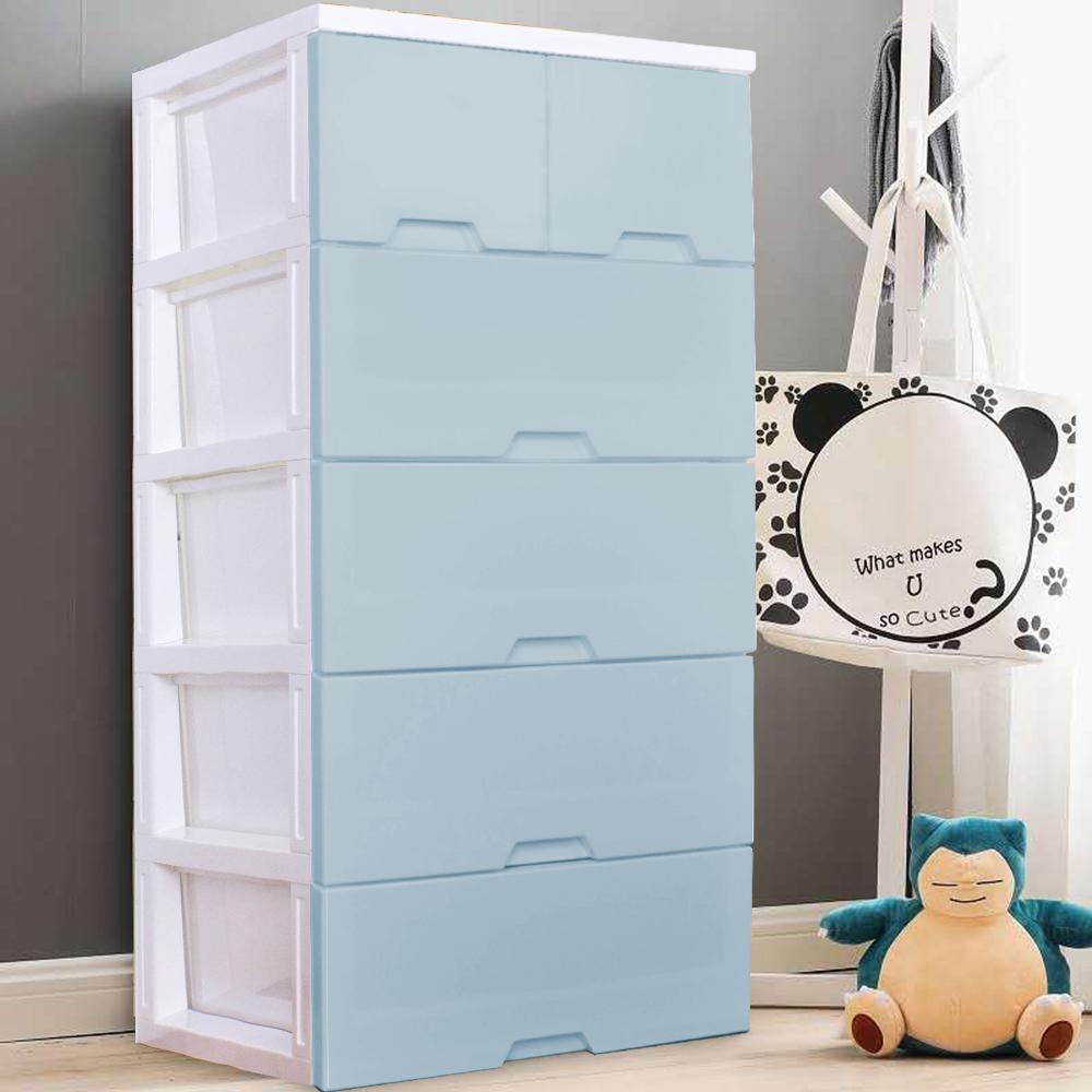 HOUSE大面寬-艾夏玩具衣物抽屜式收納櫃五層(2小抽+4大抽)-兩色可選