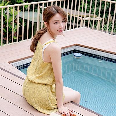 純色蕾絲雕花腰鬆緊綁帶交疊連身短褲-OB大尺碼