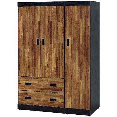 綠活居 路透斯時尚4尺三門二抽衣櫃/收納櫃-120x58x176cm免組