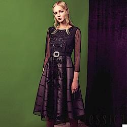 JESSICA - 氣質透膚刺繡腰帶洋裝