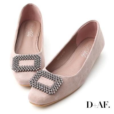 D+AF 華麗印象.水鑽方形飾釦低跟包鞋*粉紫
