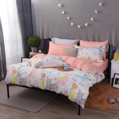 喬曼帝Jumendi 台灣製100%純棉單人三件式床包被套組(森林物語)