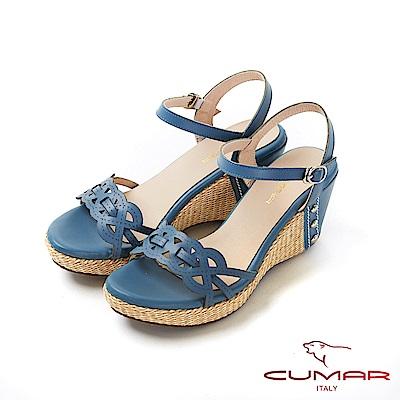 CUMAR普羅旺斯莊園- 獨特雷射編織鞋面楔型涼鞋-藍