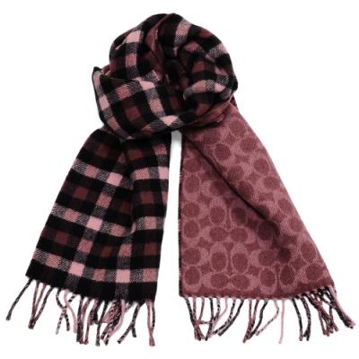 COACH 格紋與C Logo羊毛流蘇雙面圍巾(多色可選)
