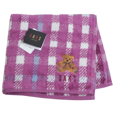 DAKS 經典品牌格紋字母可愛泰迪熊刺繡LOGO小方巾(葡萄紫格紋)