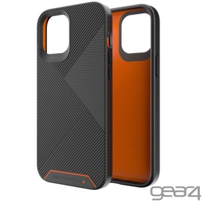 Gear4 BatterSea iPhone 12 Pro Max 抗菌防摔條紋殼-黑/橘色