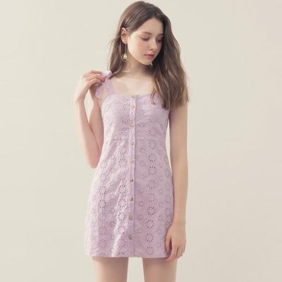 AIR SPACE 蝴蝶綁帶修身蕾絲短洋裝(紫)