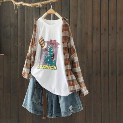 純棉卡通印花圓領T恤寬鬆短袖上衣-設計所在