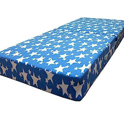 Gloria 珊瑚絨2折彈簧床(單人3尺) 水藍色