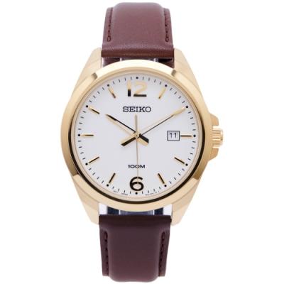 SEIKO 經典簡約款三針皮革錶帶款手錶 (SUR216P1)-白面X咖啡色/42mm