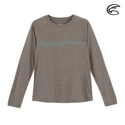 ADISI 女輕薄棉感圖騰圓領長袖排汗衣AL2011110 (S-2XL) 雙色深灰