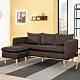Boden-米恩咖啡色L型布沙發椅(三人座+腳椅) product thumbnail 1