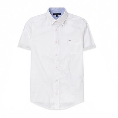 TOMMY 經典刺繡Logo口袋短袖襯衫-白色