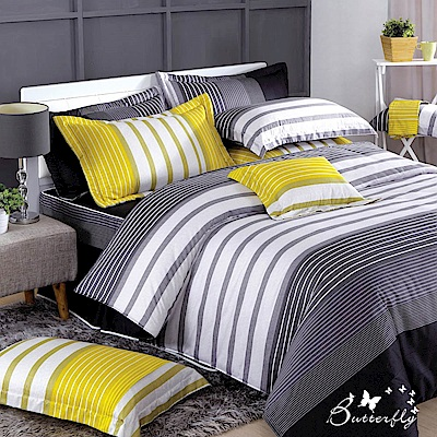 BUTTERFLY-台製40支紗純棉加高30cm加大雙人床包+薄式信封枕套-舞動青春-灰