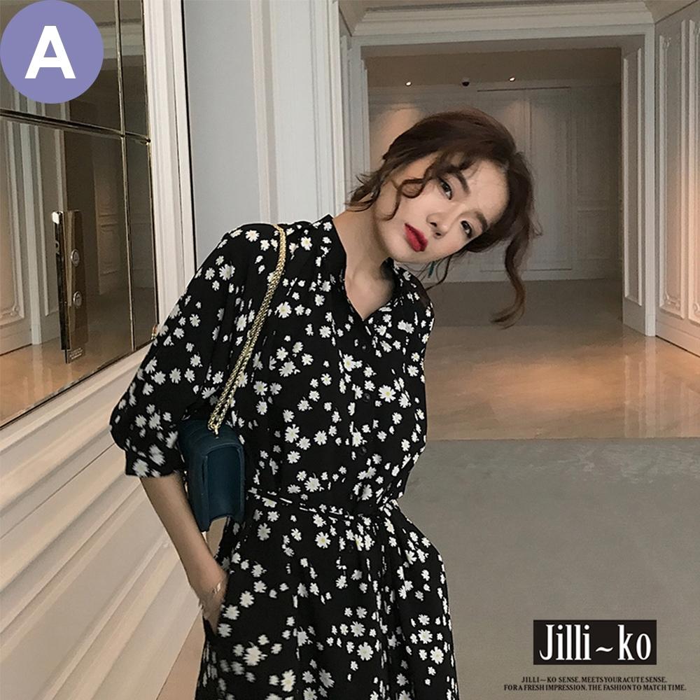 [時時樂限定]JILLI-KO 雛菊碎花繫腰連衣裙- 多款任選 product image 1