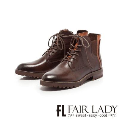 Fair Lady學院風綁帶拼革厚底短靴 咖