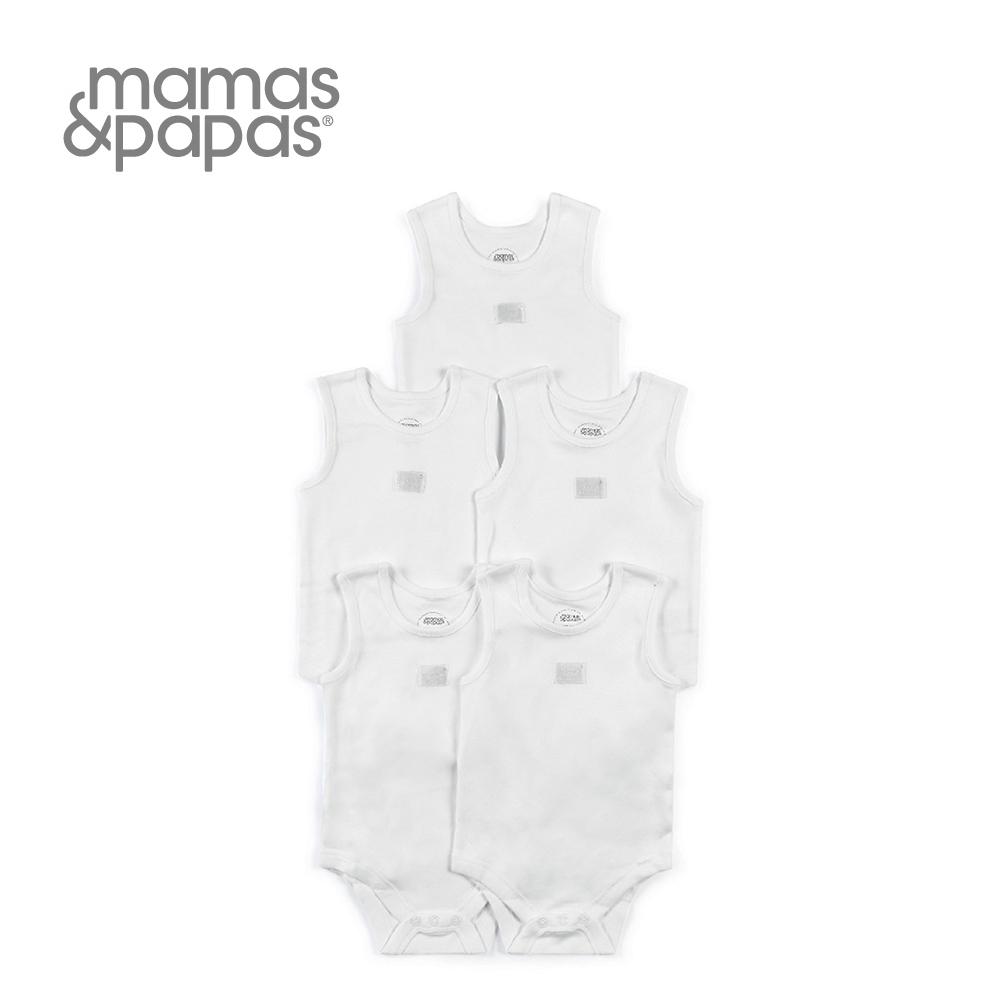 Mamas&Papas 無袖包屁衣5件組(白)