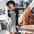 高含棉細肩帶格紋拼接假兩件洋裝-OB嚴選