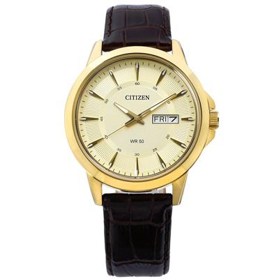 CITIZEN 簡約星期日期礦石強化玻璃日本機芯真皮手錶-金x深褐/41mm