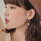 簡約圓圈色塊/珍珠綴飾耳針式耳環-OB大尺碼