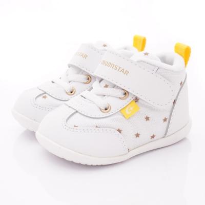 日本月星頂級童鞋 護踝機能學步鞋 ON891白(寶寶段)