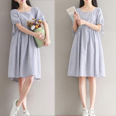 【韓國K.W.】韓時尚魅力佳人文藝格紋洋裝-2色