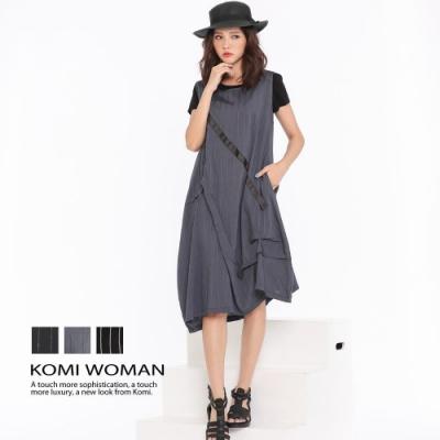 【KOMI】都會風直紋人絲棉花苞口袋洋裝‧三色