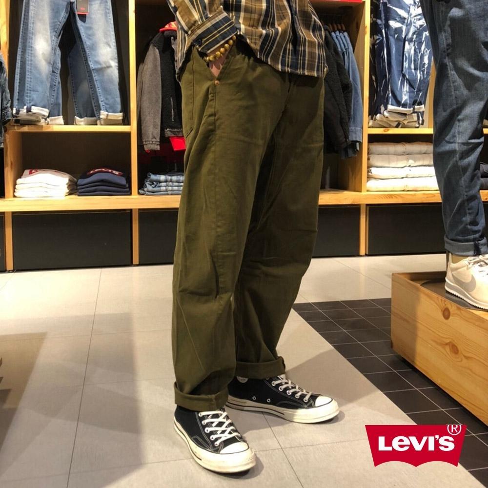 Levis 男款 570 Baggy寬鬆繭型休閒褲 LEJ 3D褲 彈性布料 軍綠