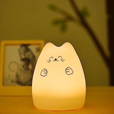 半島良品 超萌紓壓觸控彩色小夜燈-瞇眼貓