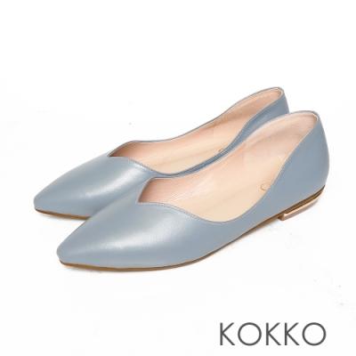 KOKKO無著感彎折方頭曲線羊皮平底鞋霧霾藍