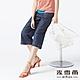 MYVEGA麥雪爾 純棉橘色縫線八分牛仔寬褲-藍 product thumbnail 1