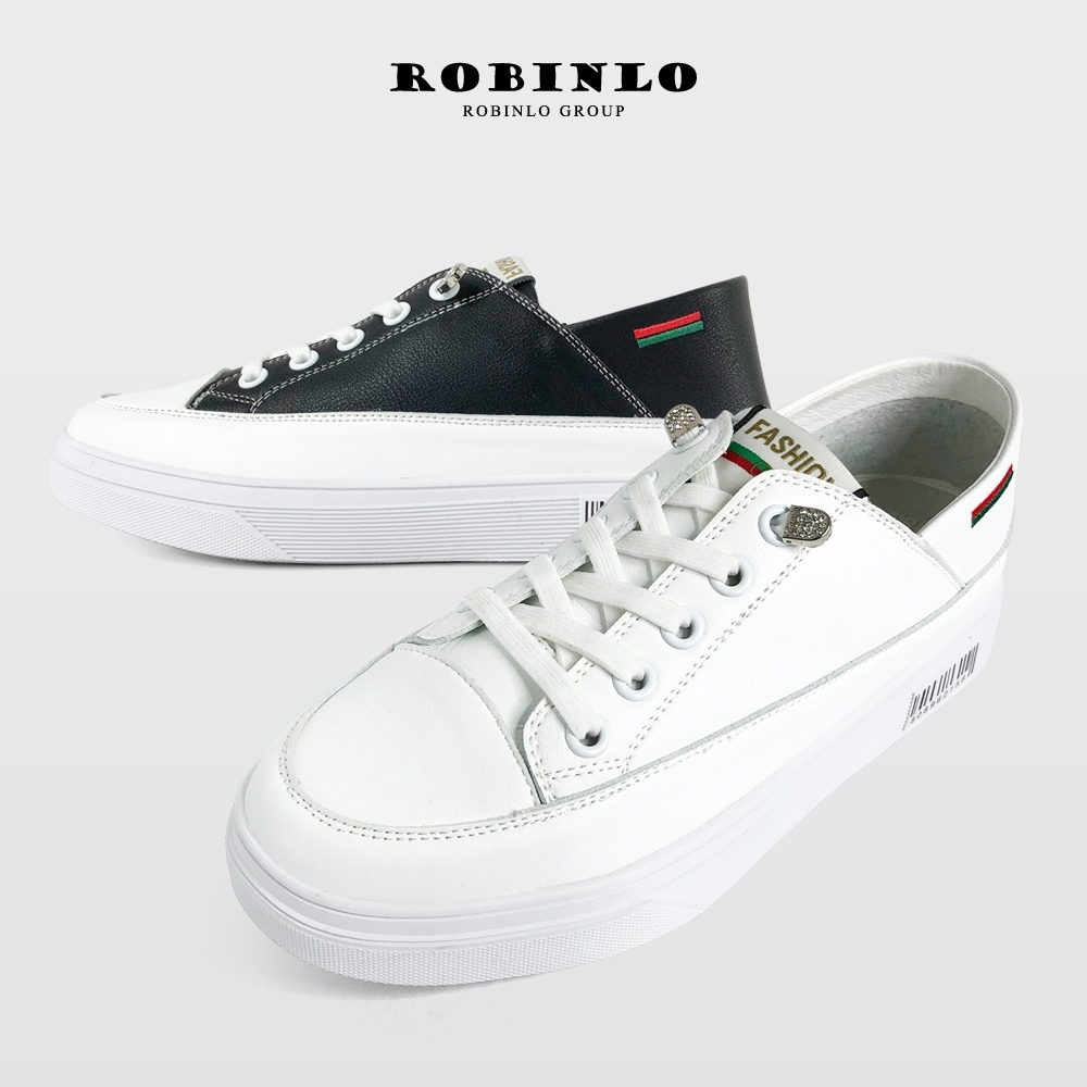 Robinlo免綁帶造型條碼牛皮厚底休閒鞋小白鞋 白/黑