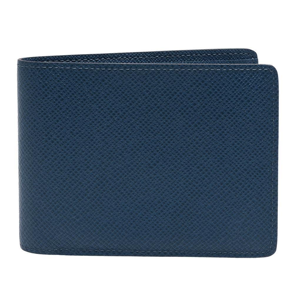 LV M32826經典MULTIPLE系列TAIGA皮革交叉卡夾摺疊短夾(海洋藍色)
