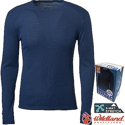 Wildland 荒野 H2666-72深藍色 男Highest圓領保暖衣 發熱衣