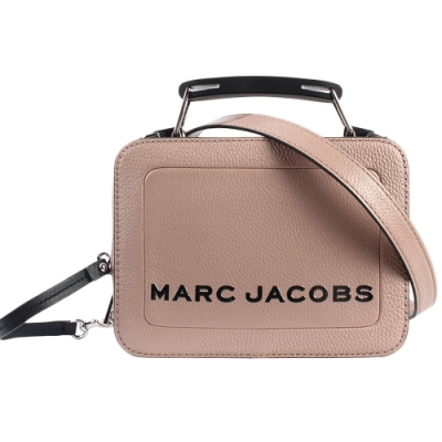 MARC JACOBS 經典THE BOX 20雙拉鍊手提斜背兩用包-小/淺可可色