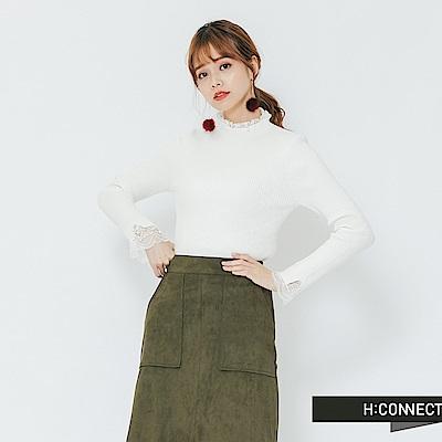 H:CONNECT 韓國品牌 女裝-蕾絲滾邊針織上衣-白
