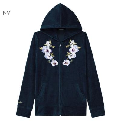 aimerfeel 刺繡絲絨連帽外套-海軍藍-857074-NV
