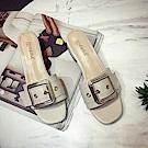 韓國KW美鞋館 獨家秒殺優雅女伶水鑽有跟拖鞋-米白色