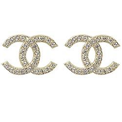CHANEL 經典大雙C LOGO鑲水鑽裝飾耳環(金)