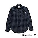 Timberland 男款藍色修身格紋法蘭絨襯衫|A1NMS