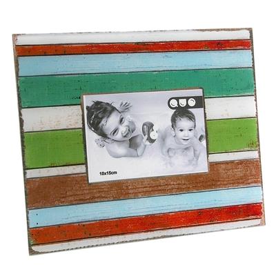 《VERSA》復古仿木紋相框(彩橫紋4x6吋)