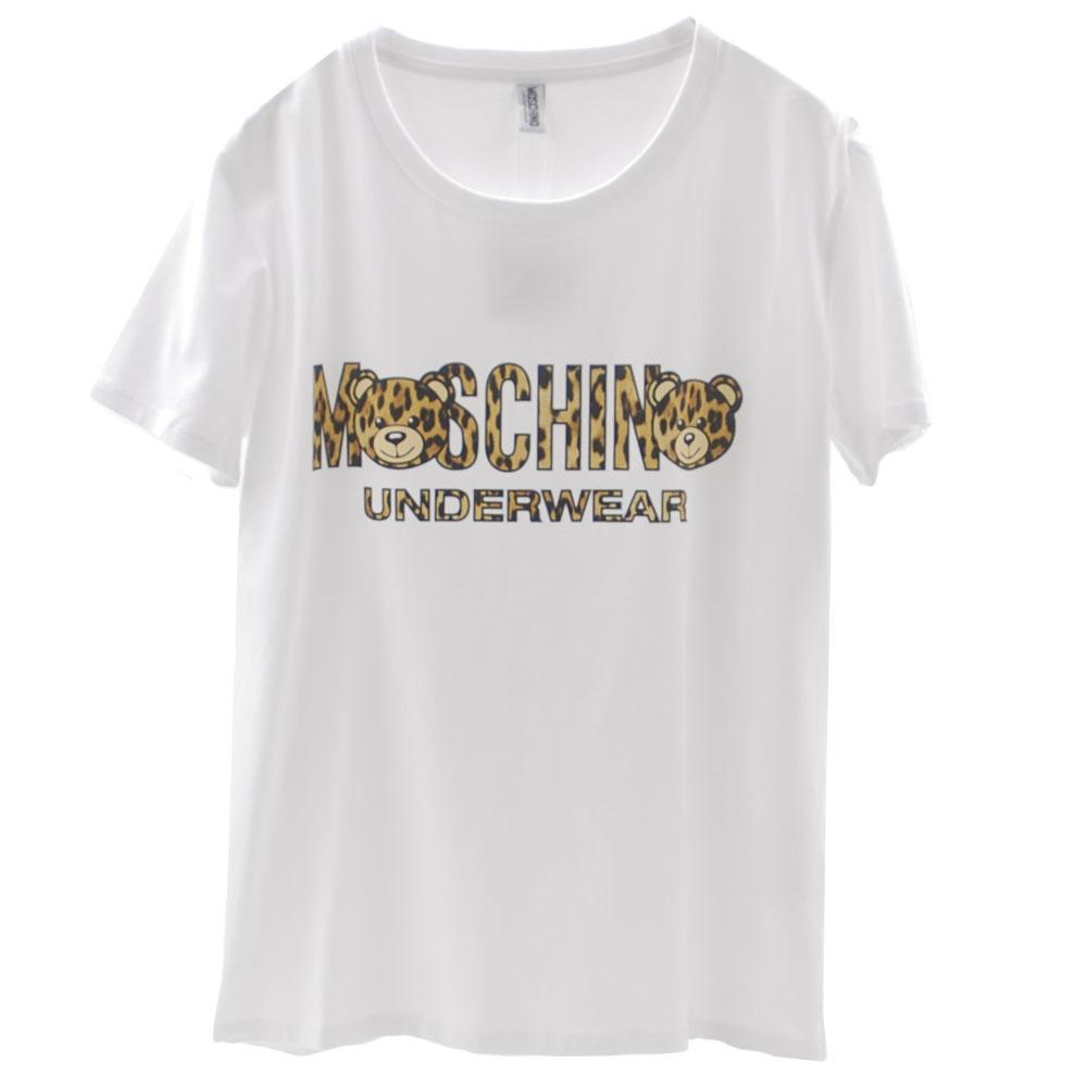 MOSCHINO 豹紋泰迪熊TOY小熊LOGO圖騰棉質短袖T恤(白)