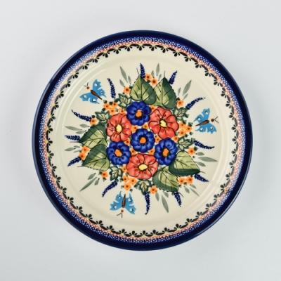 波蘭陶 夢蝶游春系列 圓形餐盤 25cm 波蘭手工製