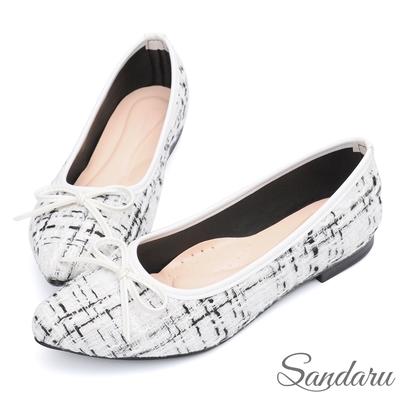 山打努SANDARU-尖頭鞋 小香風蝶結毛呢格紋平底鞋-白