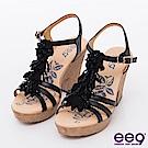 ee9花漾年華-自然之美立體鑽飾造型花朵粗跟涼鞋-黑色