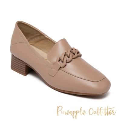 Pineapple Outfitte-MADELINE 羊皮粗低跟穆勒鞋-米杏色