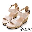 GDC-真皮辣妹款增高楔型底台素面設計後包涼鞋-粉膚色